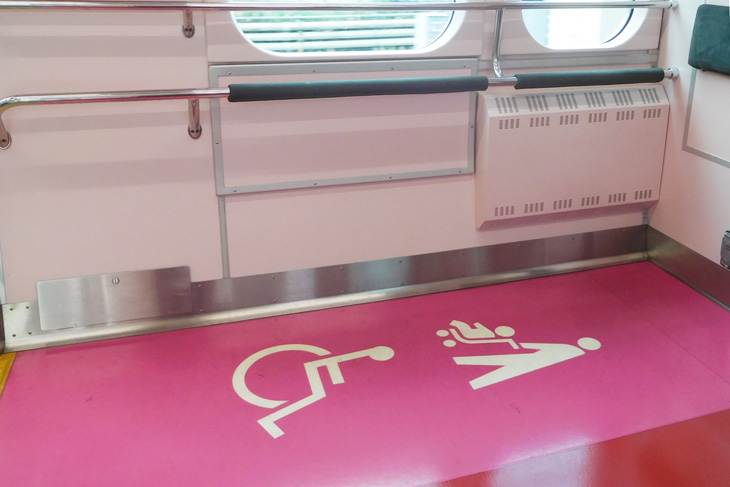 Wheelchair spaces are provided on trains in Japan.