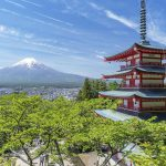 Mt. Fuji on the left and the five-story pagoda on the right. This photo was taken at the Chureito in Arakurayama Sengen Park in Yamanashi Prefecture.