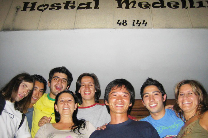 The picture of Hostal Medellin's host, guests and me