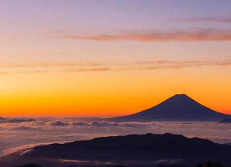 This is a sunset photo of Mt. Fuji, a symbol of Japan. This image is also linked to the custom tour page.