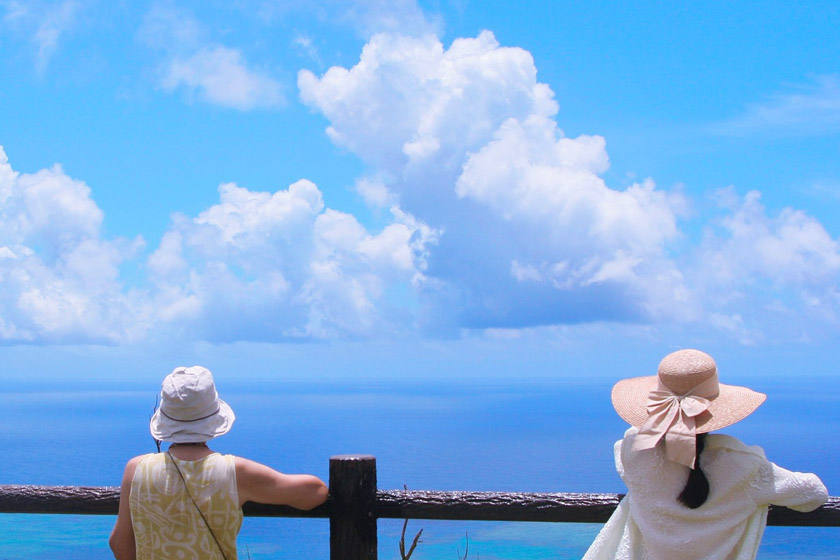 Two women are leaning on the sidewalk railing, looking out at the vast and beautiful view of the ocean.