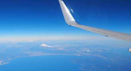 The great view of Mt. Fuji from the window of the plane is one of the appeal of travel which we believe.This image is also linked to the about us page.
